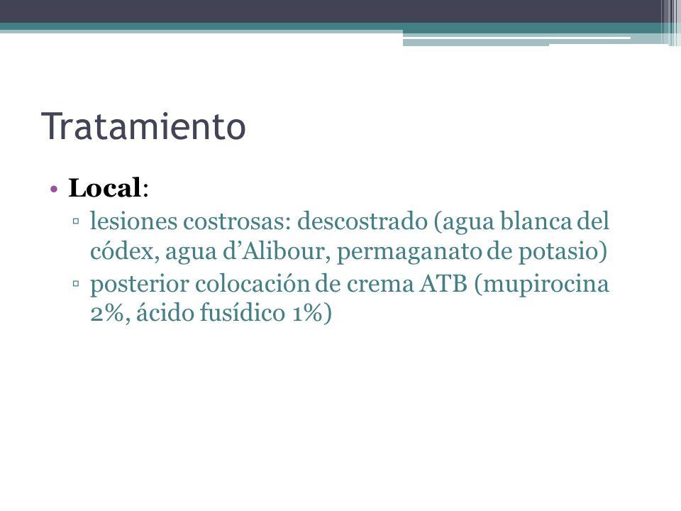 Tratamiento Local: lesiones costrosas: descostrado (agua blanca del códex, agua dAlibour, permaganato de potasio) posterior colocación de crema ATB (m