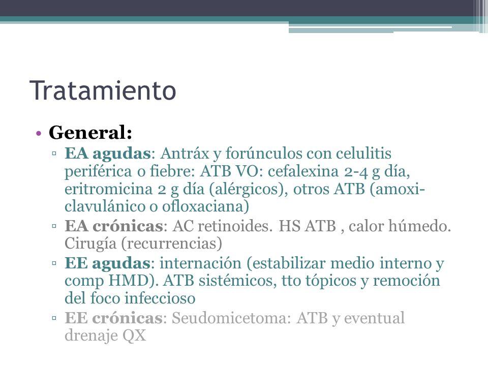 Tratamiento General: EA agudas: Antráx y forúnculos con celulitis periférica o fiebre: ATB VO: cefalexina 2-4 g día, eritromicina 2 g día (alérgicos),