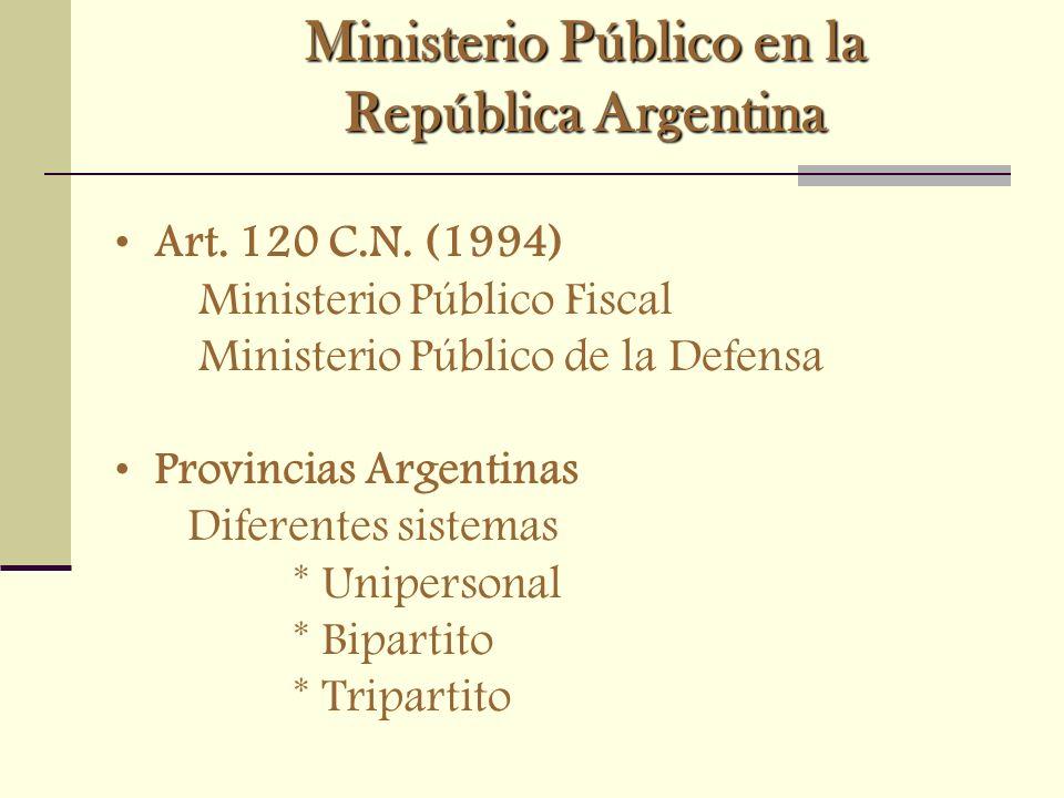 Ministerio Público en la República Argentina Art. 120 C.N. (1994) Ministerio Público Fiscal Ministerio Público de la Defensa Provincias Argentinas Dif