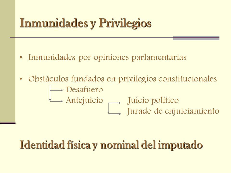 Inmunidades y Privilegios Inmunidades por opiniones parlamentarias Obstáculos fundados en privilegios constitucionales Desafuero Antejuicio Juicio pol