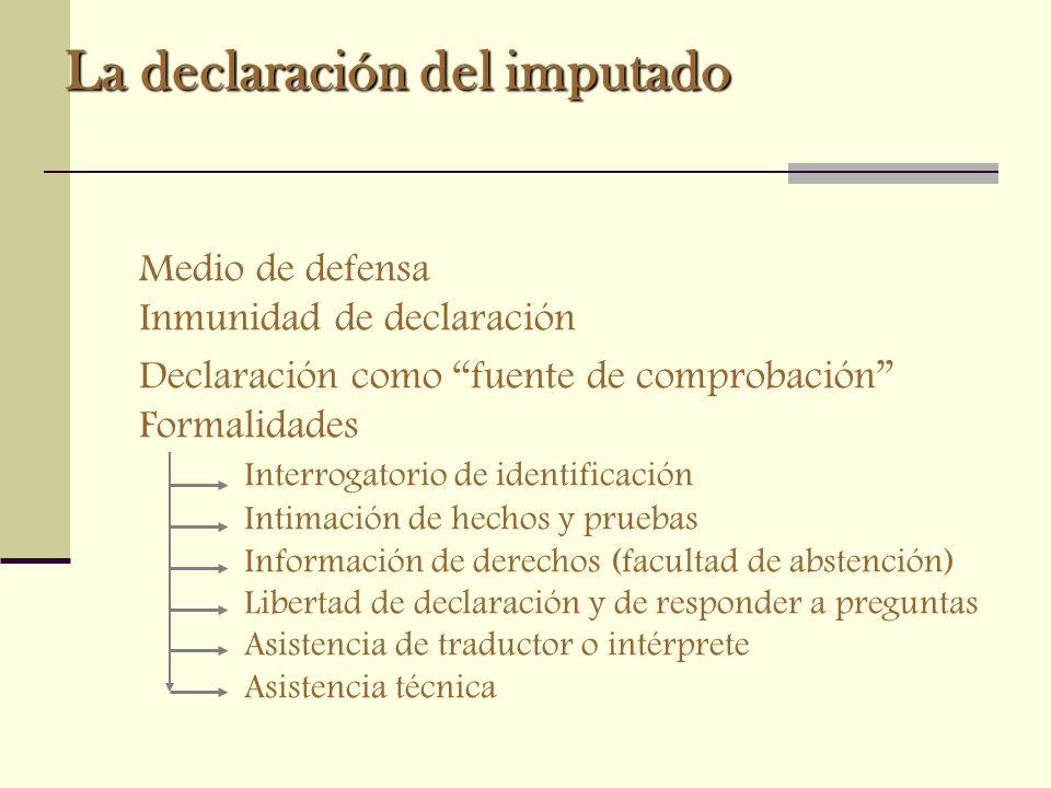 La declaración del imputado Medio de defensa Inmunidad de declaración Declaración como fuente de comprobación Formalidades Interrogatorio de identific