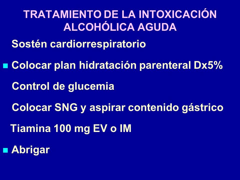 TRATAMIENTO DE LA INTOXICACIÓN ALCOHÓLICA AGUDA Sostén cardiorrespiratorio Colocar plan hidratación parenteral Dx5% Control de glucemia Colocar SNG y