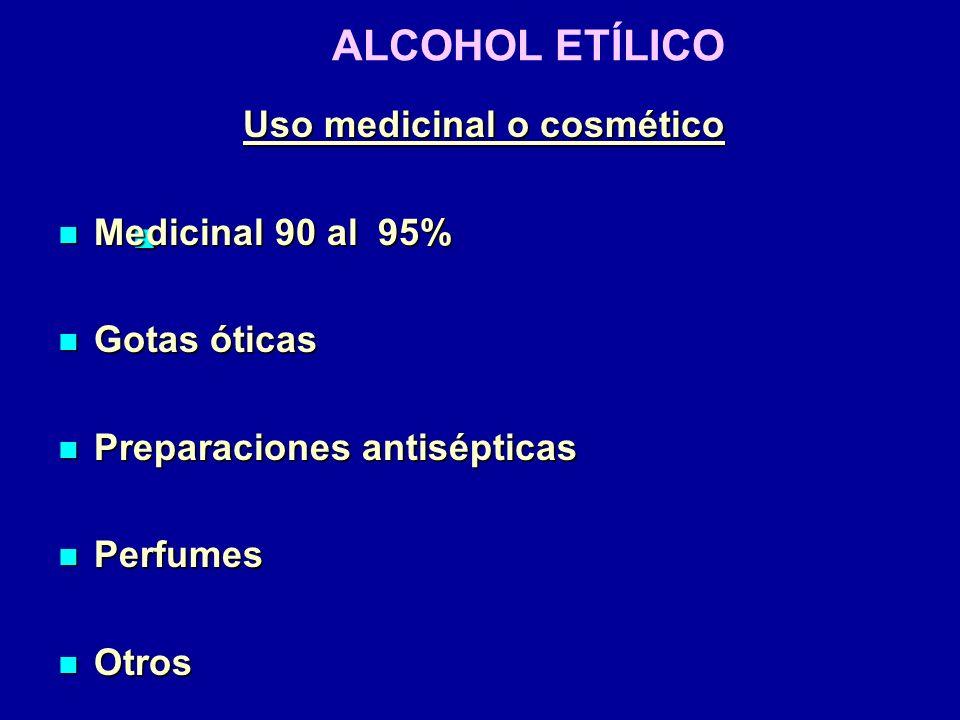ALCOHOL ETÍLICO Uso medicinal o cosmético Medicinal 90 al 95% Medicinal 90 al 95% Gotas óticas Gotas óticas Preparaciones antisépticas Preparaciones a