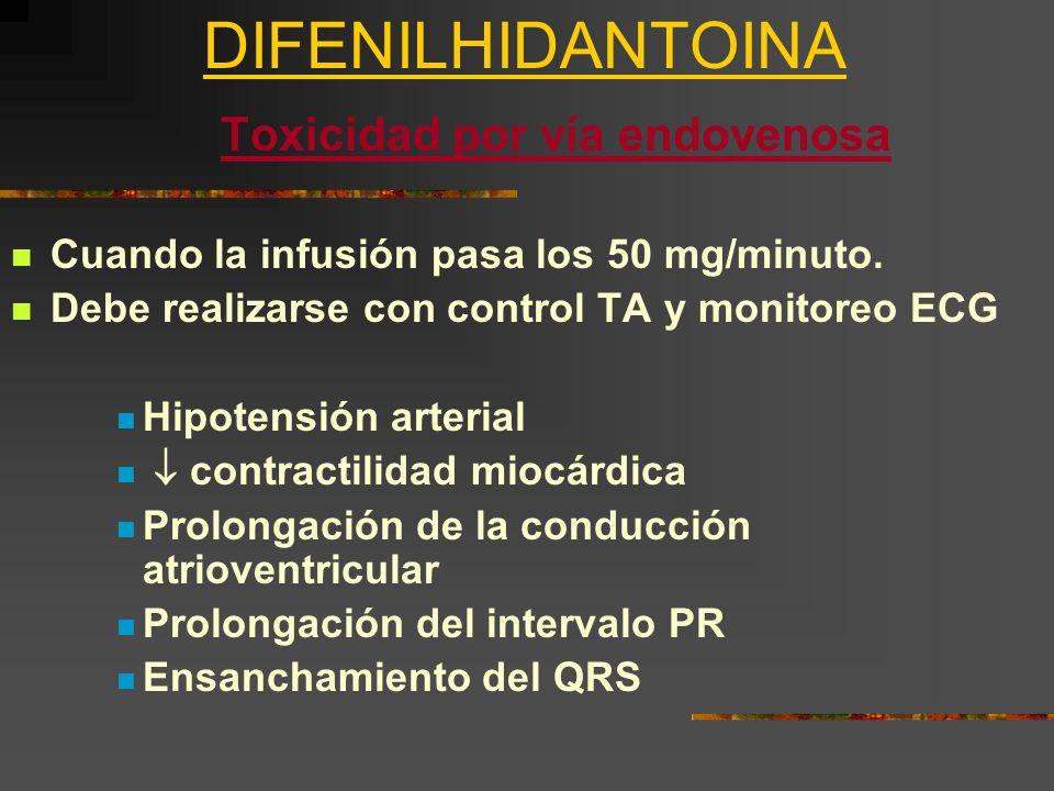 DIFENILHIDANTOINA Toxicidad por vía endovenosa Cuando la infusión pasa los 50 mg/minuto. Debe realizarse con control TA y monitoreo ECG Hipotensión ar