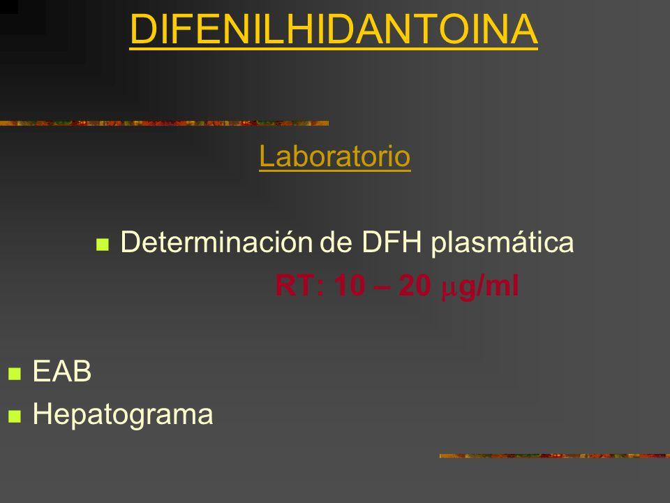 DIFENILHIDANTOINA Laboratorio Determinación de DFH plasmática RT: 10 – 20 g/ml EAB Hepatograma