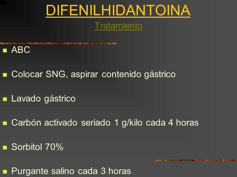 DIFENILHIDANTOINA Tratamiento ABC Colocar SNG, aspirar contenido gástrico Lavado gástrico Carbón activado seriado 1 g/kilo cada 4 horas Sorbitol 70% P