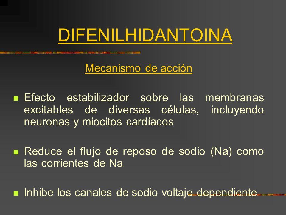 DIFENILHIDANTOINA Mecanismo de acción Efecto estabilizador sobre las membranas excitables de diversas células, incluyendo neuronas y miocitos cardíaco