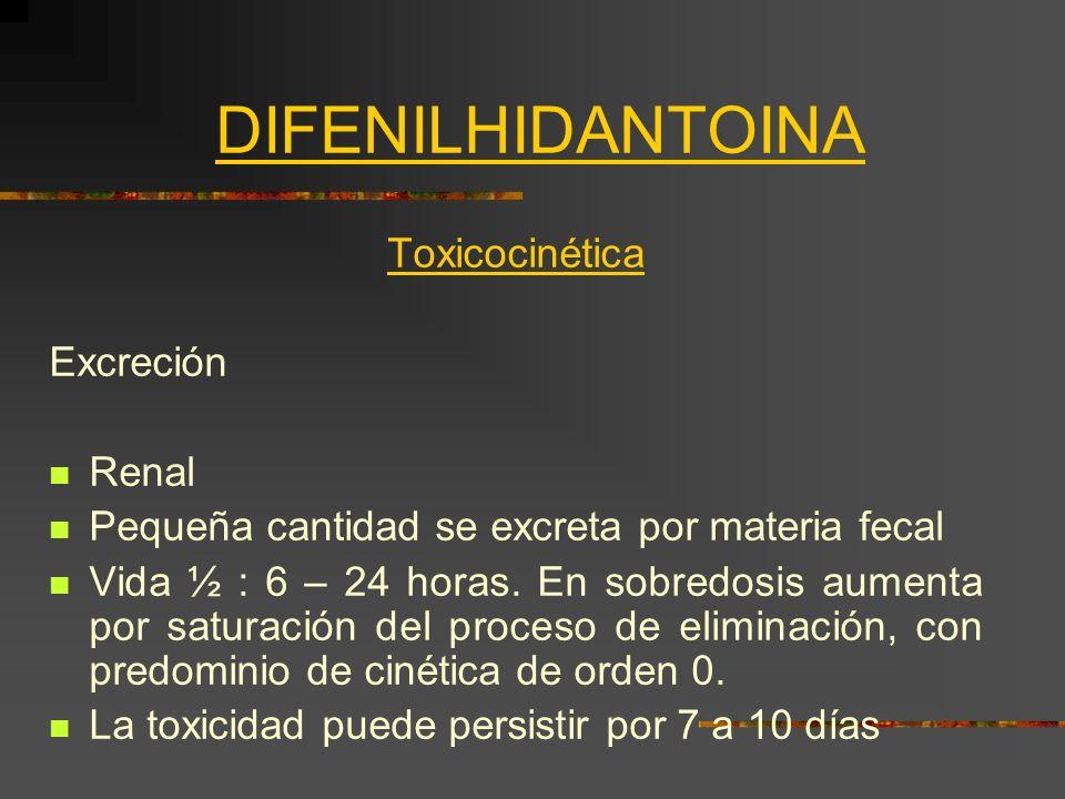 DIFENILHIDANTOINA Toxicocinética Excreción Renal Pequeña cantidad se excreta por materia fecal Vida ½ : 6 – 24 horas. En sobredosis aumenta por satura