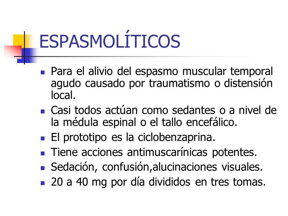 ESPASMOLÍTICOS Para el alivio del espasmo muscular temporal agudo causado por traumatismo o distensión local.
