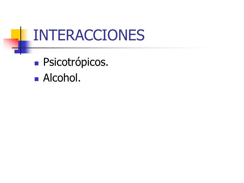 INTERACCIONES Psicotrópicos. Alcohol.