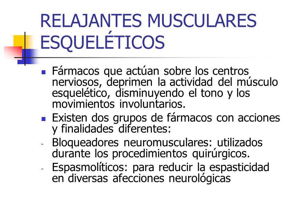RELAJANTES MUSCULARES ESQUELÉTICOS Fármacos que actúan sobre los centros nerviosos, deprimen la actividad del músculo esquelético, disminuyendo el tono y los movimientos involuntarios.