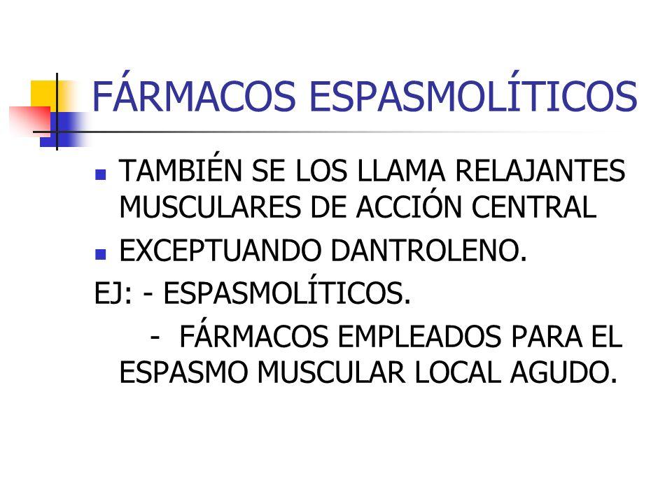 FÁRMACOS ESPASMOLÍTICOS TAMBIÉN SE LOS LLAMA RELAJANTES MUSCULARES DE ACCIÓN CENTRAL EXCEPTUANDO DANTROLENO.