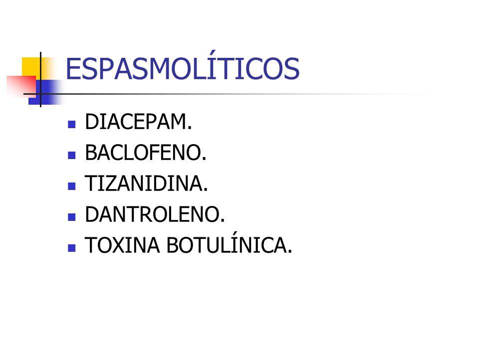 ESPASMOLÍTICOS DIACEPAM. BACLOFENO. TIZANIDINA. DANTROLENO. TOXINA BOTULÍNICA.