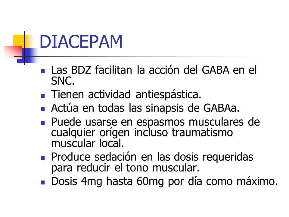 DIACEPAM Las BDZ facilitan la acción del GABA en el SNC.