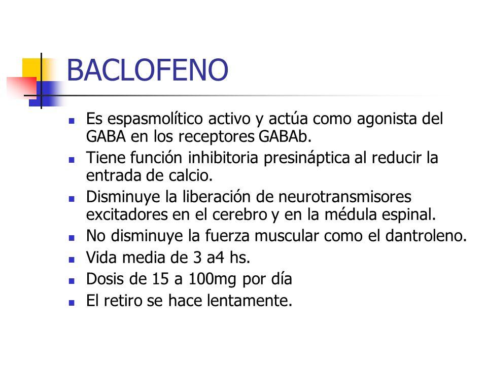 BACLOFENO Es espasmolítico activo y actúa como agonista del GABA en los receptores GABAb.