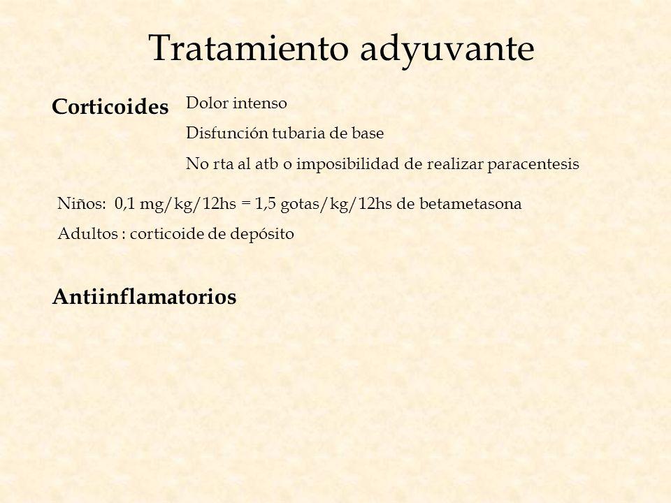 Tratamiento adyuvante Corticoides Dolor intenso Disfunción tubaria de base No rta al atb o imposibilidad de realizar paracentesis Niños: 0,1 mg/kg/12h
