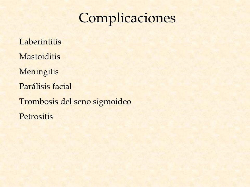 Complicaciones Laberintitis Mastoiditis Meningitis Parálisis facial Trombosis del seno sigmoideo Petrositis