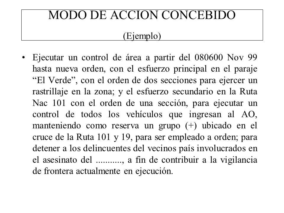 MODO DE ACCION CONCEBIDO (Ejemplo) Ejecutar un control de área a partir del 080600 Nov 99 hasta nueva orden, con el esfuerzo principal en el paraje El