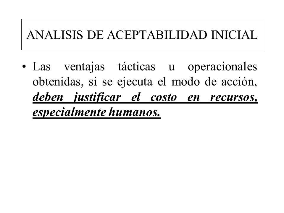 ANALISIS DE ACEPTABILIDAD INICIAL Las ventajas tácticas u operacionales obtenidas, si se ejecuta el modo de acción, deben justificar el costo en recur
