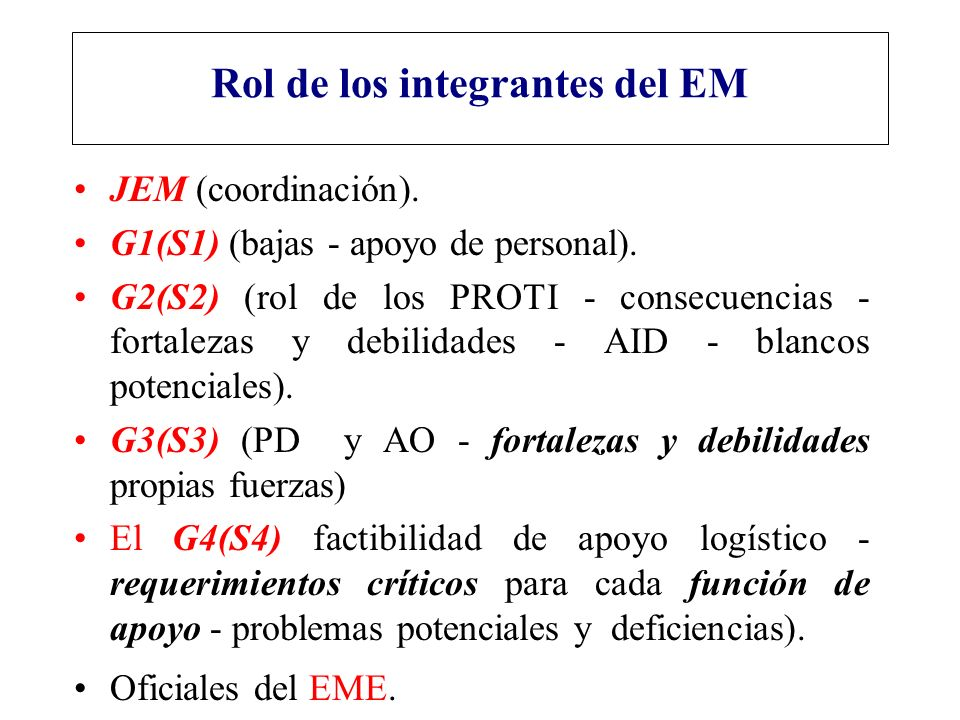 Rol de los integrantes del EM JEM (coordinación). G1(S1) (bajas - apoyo de personal). G2(S2) (rol de los PROTI - consecuencias - fortalezas y debilida
