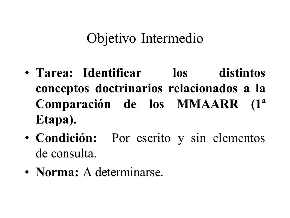 Objetivo Intermedio Tarea:Identificar los distintos conceptos doctrinarios relacionados a la Comparación de los MMAARR (1ª Etapa). Condición:Por escri