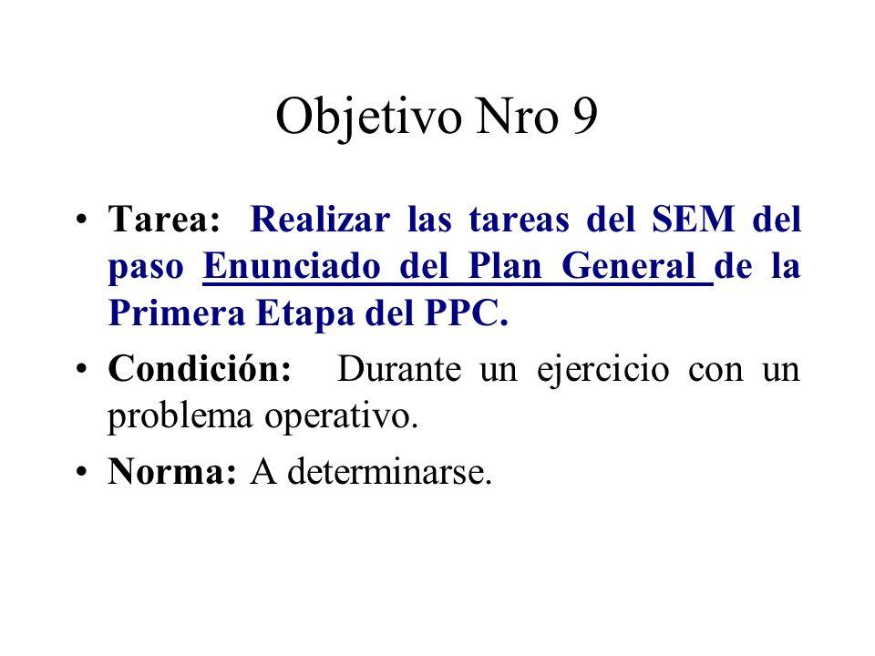 Objetivo Nro 9 Tarea: Realizar las tareas del SEM del paso Enunciado del Plan General de la Primera Etapa del PPC. Condición:Durante un ejercicio con