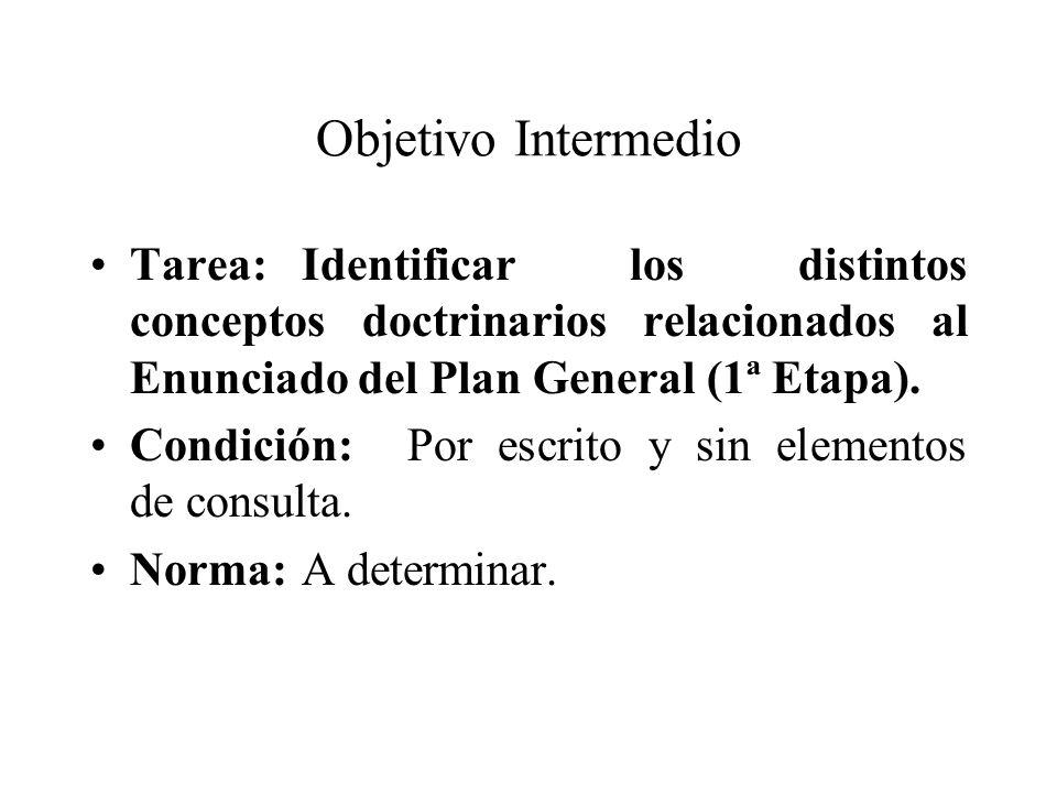 Objetivo Intermedio Tarea:Identificar los distintos conceptos doctrinarios relacionados al Enunciado del Plan General (1ª Etapa). Condición:Por escrit