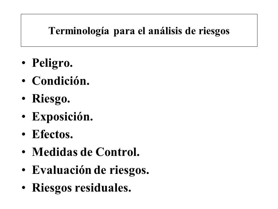 Terminología para el análisis de riesgos Peligro. Condición. Riesgo. Exposición. Efectos. Medidas de Control. Evaluación de riesgos. Riesgos residuale