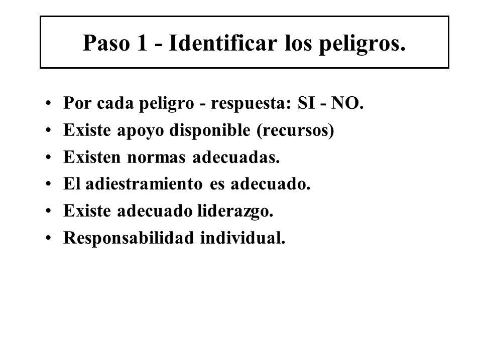 Paso 1 - Identificar los peligros. Por cada peligro - respuesta: SI - NO. Existe apoyo disponible (recursos) Existen normas adecuadas. El adiestramien