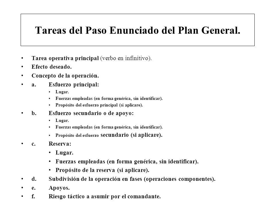 Tareas del Paso Enunciado del Plan General. Tarea operativa principal (verbo en infinitivo). Efecto deseado. Concepto de la operación. a. Esfuerzo pri