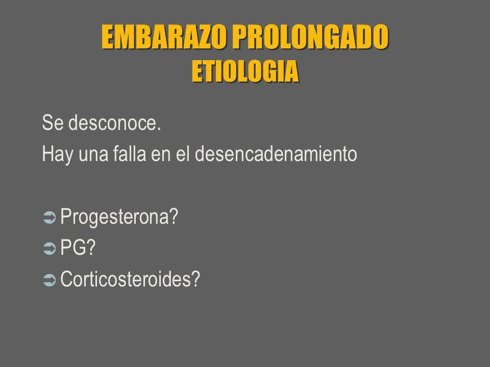 EMBARAZO PROLONGADO ETIOLOGIA Se desconoce. Hay una falla en el desencadenamiento Progesterona? PG? Corticosteroides?