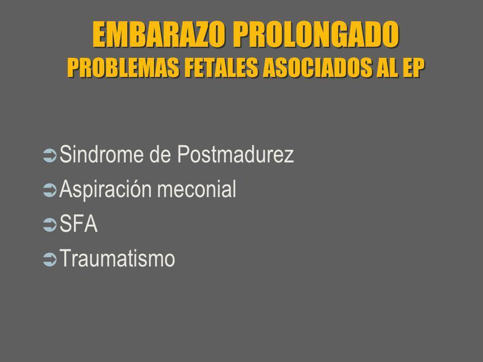 EMBARAZO PROLONGADO PROBLEMAS FETALES ASOCIADOS AL EP Sindrome de Postmadurez Aspiración meconial SFA Traumatismo