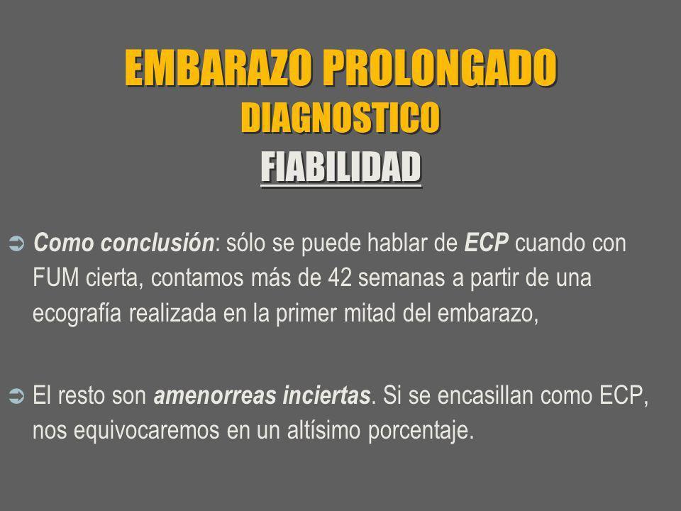 EMBARAZO PROLONGADO DIAGNOSTICO FIABILIDAD Como conclusión : sólo se puede hablar de ECP cuando con FUM cierta, contamos más de 42 semanas a partir de