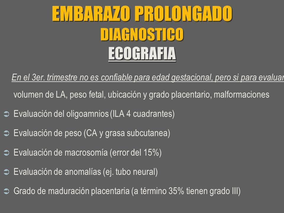EMBARAZO PROLONGADO DIAGNOSTICO ECOGRAFIA En el 3er. trimestre no es confiable para edad gestacional, pero si para evaluar : volumen de LA, peso fetal
