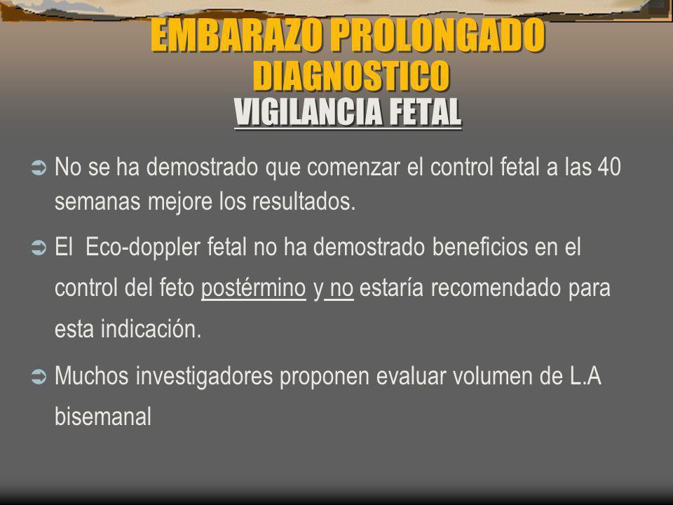 EMBARAZO PROLONGADO DIAGNOSTICO VIGILANCIA FETAL No se ha demostrado que comenzar el control fetal a las 40 semanas mejore los resultados. El Eco-dopp