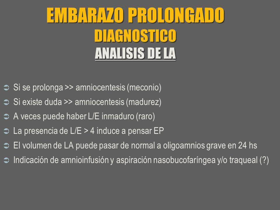 EMBARAZO PROLONGADO DIAGNOSTICO ANALISIS DE LA Si se prolonga >> amniocentesis (meconio) Si existe duda >> amniocentesis (madurez) A veces puede haber