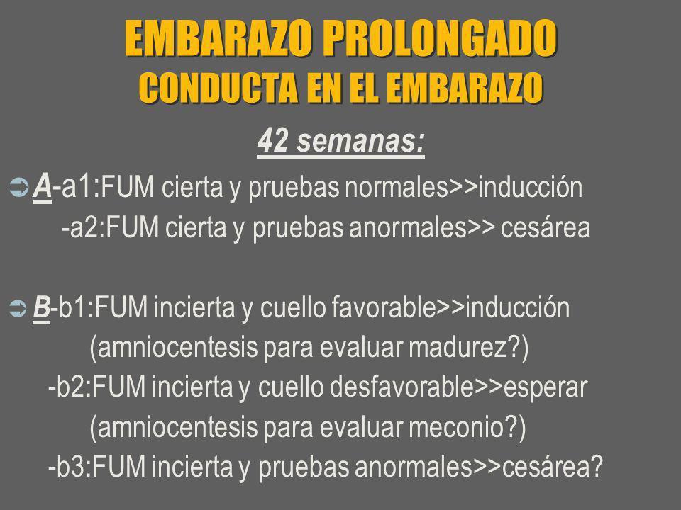 EMBARAZO PROLONGADO CONDUCTA EN EL EMBARAZO 42 semanas: A -a1: FUM cierta y pruebas normales>>inducción -a2:FUM cierta y pruebas anormales>> cesárea B