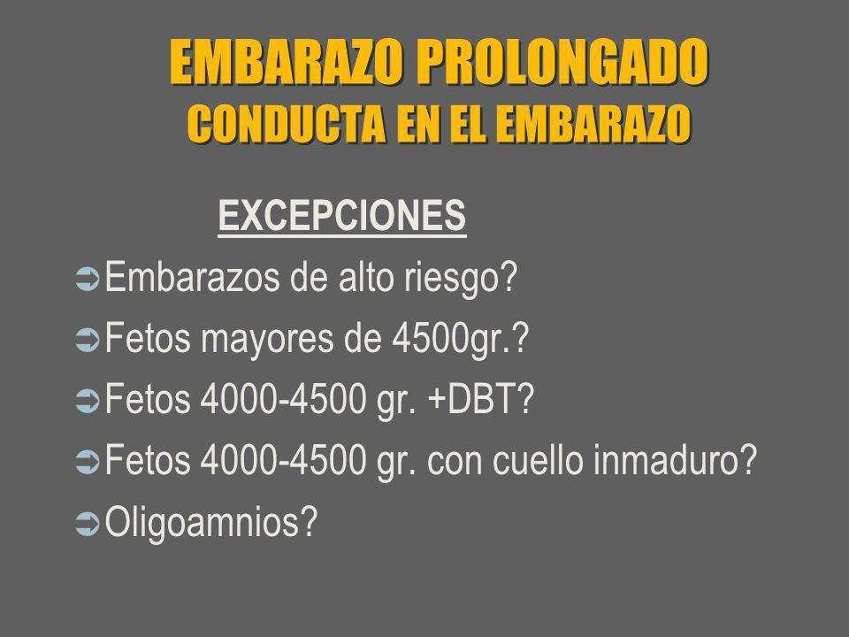 EMBARAZO PROLONGADO CONDUCTA EN EL EMBARAZO EXCEPCIONES Embarazos de alto riesgo? Fetos mayores de 4500gr.? Fetos 4000-4500 gr. +DBT? Fetos 4000-4500
