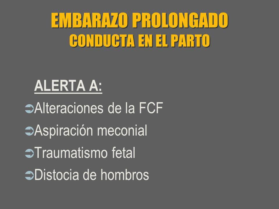 EMBARAZO PROLONGADO CONDUCTA EN EL PARTO ALERTA A: Alteraciones de la FCF Aspiración meconial Traumatismo fetal Distocia de hombros