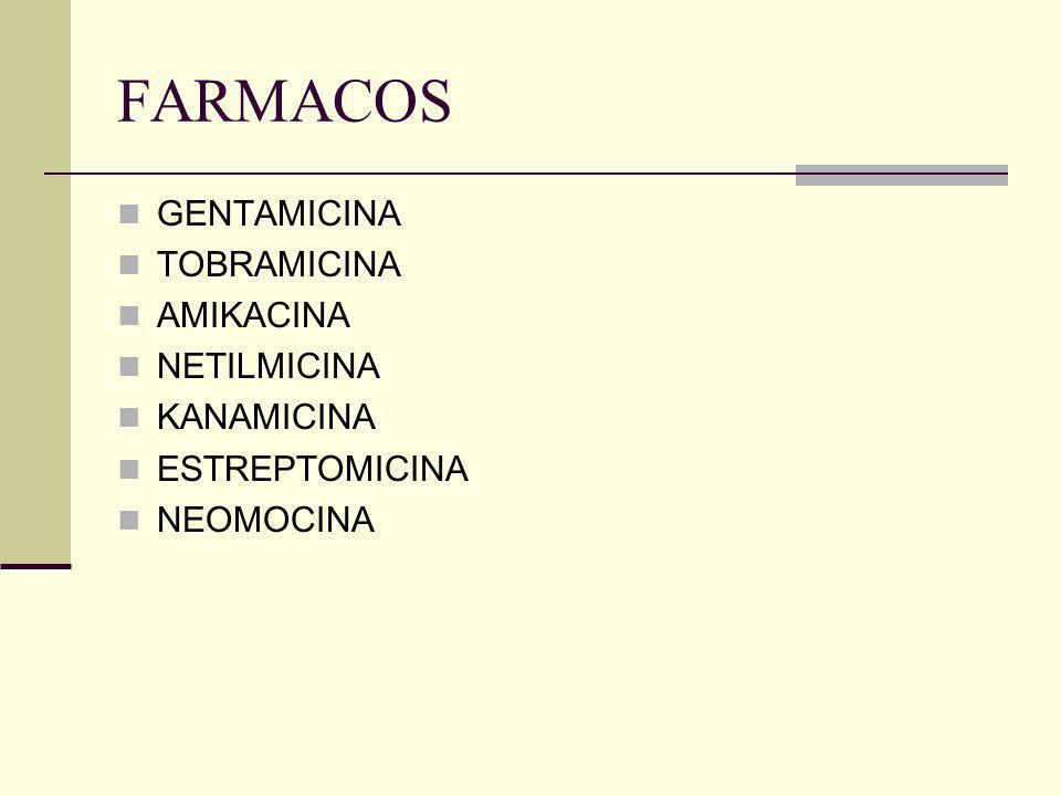 FARMACOS GENTAMICINA TOBRAMICINA AMIKACINA NETILMICINA KANAMICINA ESTREPTOMICINA NEOMOCINA