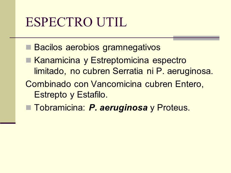 ESPECTRO UTIL Bacilos aerobios gramnegativos Kanamicina y Estreptomicina espectro limitado, no cubren Serratia ni P. aeruginosa. Combinado con Vancomi