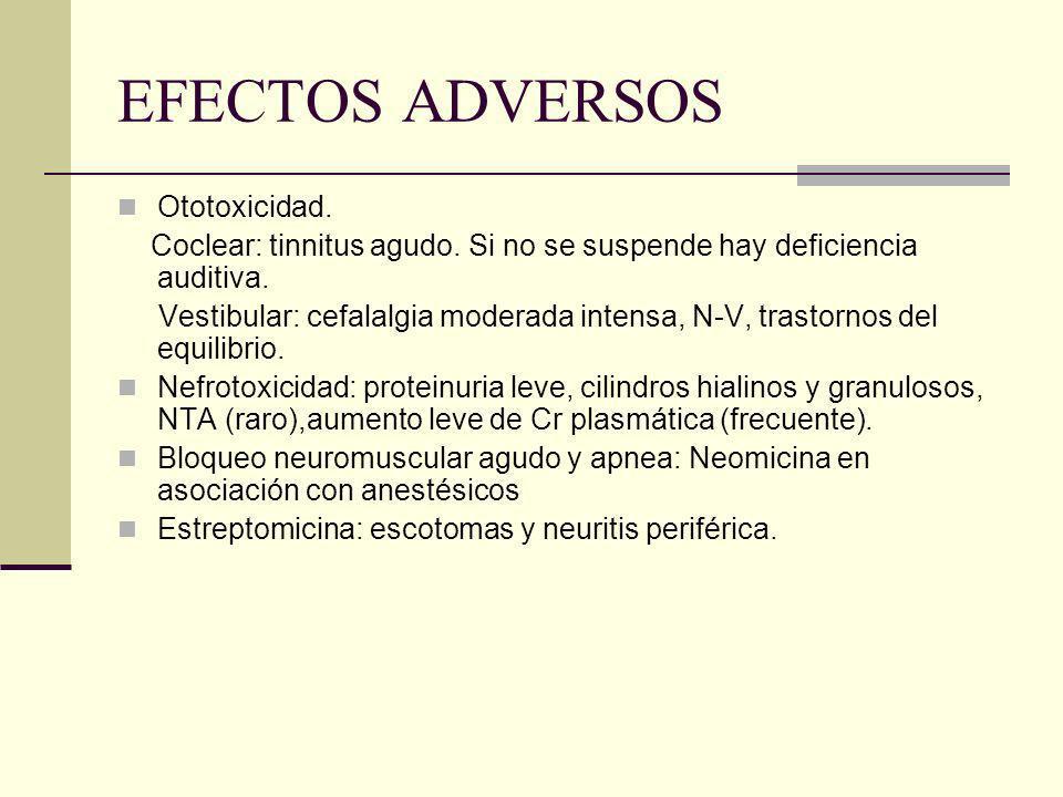 EFECTOS ADVERSOS Ototoxicidad. Coclear: tinnitus agudo. Si no se suspende hay deficiencia auditiva. Vestibular: cefalalgia moderada intensa, N-V, tras