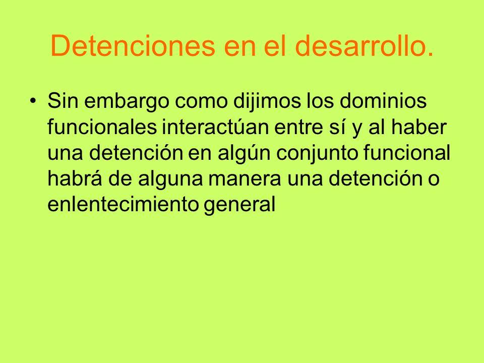 Detenciones en el desarrollo. Sin embargo como dijimos los dominios funcionales interactúan entre sí y al haber una detención en algún conjunto funcio
