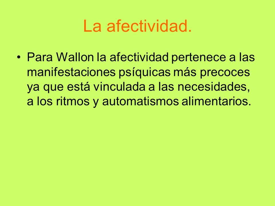 La afectividad. Para Wallon la afectividad pertenece a las manifestaciones psíquicas más precoces ya que está vinculada a las necesidades, a los ritmo