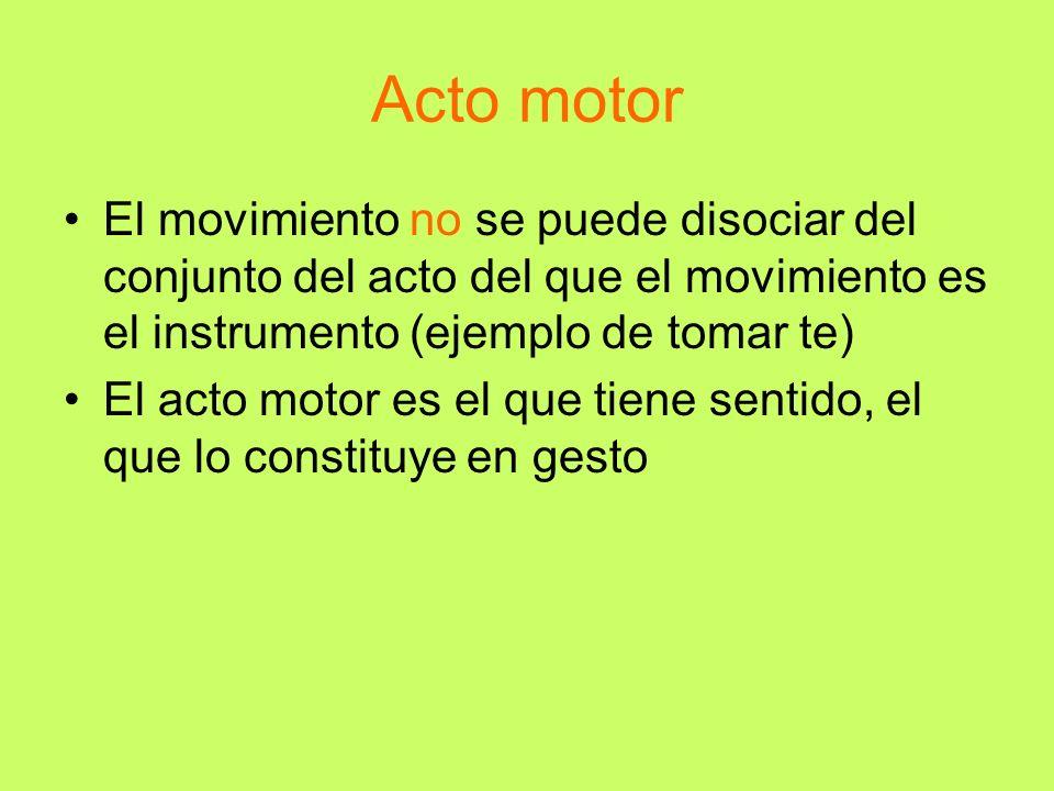 Acto motor El movimiento no se puede disociar del conjunto del acto del que el movimiento es el instrumento (ejemplo de tomar te) El acto motor es el
