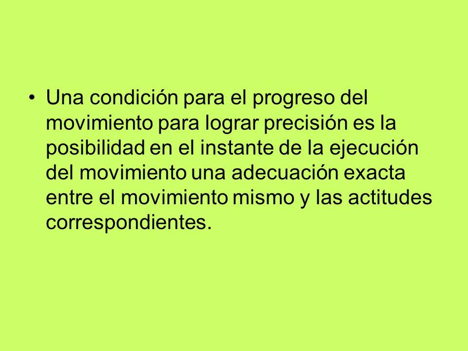 Una condición para el progreso del movimiento para lograr precisión es la posibilidad en el instante de la ejecución del movimiento una adecuación exa