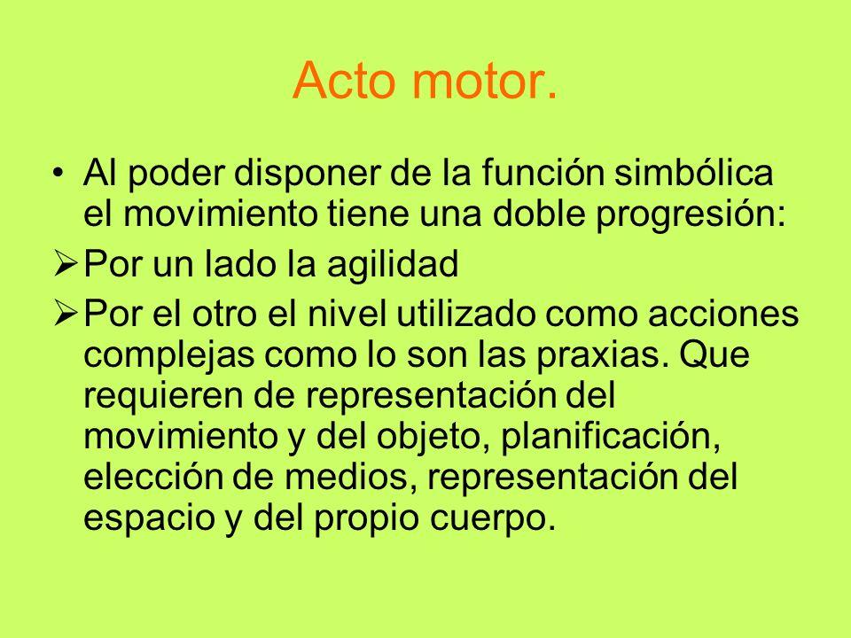 Acto motor. Al poder disponer de la función simbólica el movimiento tiene una doble progresión: Por un lado la agilidad Por el otro el nivel utilizado