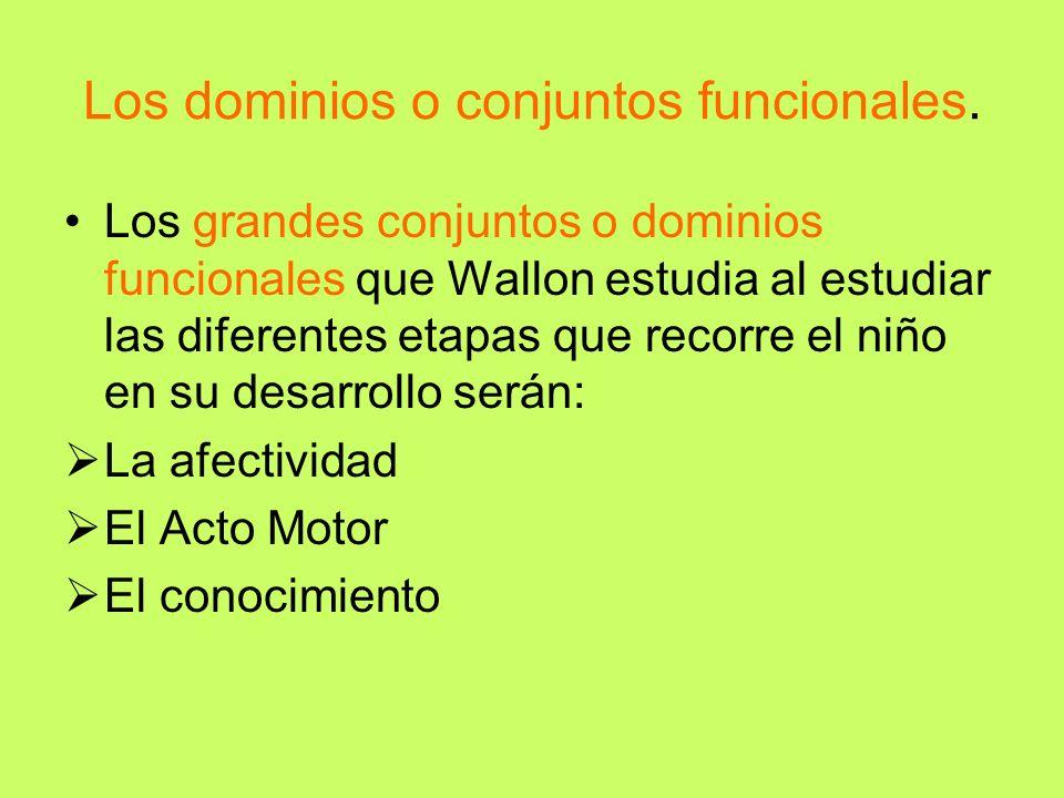 Los dominios o conjuntos funcionales. Los grandes conjuntos o dominios funcionales que Wallon estudia al estudiar las diferentes etapas que recorre el