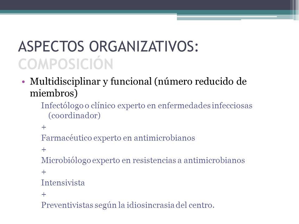 Multidisciplinar y funcional (número reducido de miembros) Infectólogo o clínico experto en enfermedades infecciosas (coordinador) + Farmacéutico expe