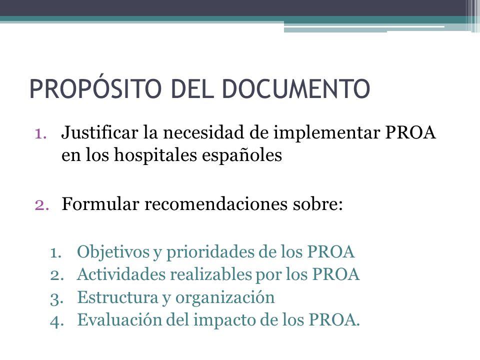 PROPÓSITO DEL DOCUMENTO 1.Justificar la necesidad de implementar PROA en los hospitales españoles 2.Formular recomendaciones sobre: 1.Objetivos y prio